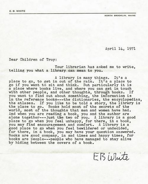 A letter from E.B White
