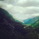 Driving through the Swiss Alps